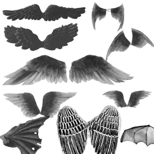 手绘天使与恶魔翅膀