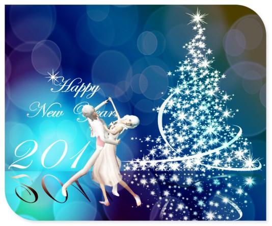 ④ 圣诞树 七色彩带 飘落雪花&
