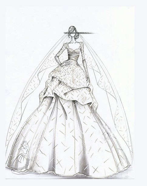 头纱设计手绘图